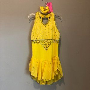 Figure Skating Yellow Jewel Competition Dress